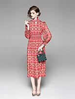 Недорогие -Жен. Классический Фонарь рукавом Оболочка Платье - Цветочный принт, С разрезами С принтом Средней длины