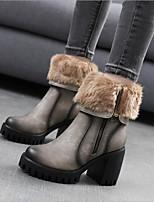 preiswerte -Damen Schuhe PU Nubukleder Winter Komfort Stiefel Plattform für Schwarz Grau