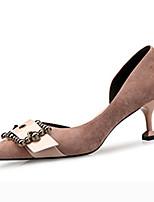 abordables -Femme Chaussures Tissu Eté / Automne Escarpin Basique Chaussures à Talons Talon Aiguille Bout pointu Noir / Kaki