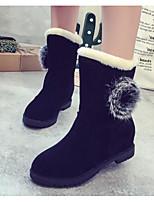 baratos -Mulheres Sapatos Couro Ecológico Outono Inverno Botas de Neve Botas Sem Salto Botas Cano Médio para Preto Vermelho Escuro Castanho Claro