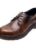 abordables -Femme Chaussures Cuir Printemps Eté Confort Oxfords Talon Bottier Bout rond pour De plein air Noir Marron Bourgogne