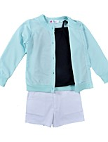 cheap -Girls' Daily Holiday Solid Colored Clothing Set, Cotton Spring Summer Long Sleeves Cute Active Blue