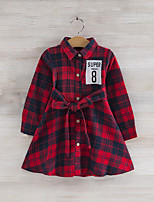 cheap -Girl's Daily Plaid Dress, Rayon Spring Fall Long Sleeves Cute Blue Red