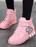 cheap -Girls' Shoes Cowhide Fall Winter Bootie Boots Booties/Ankle Boots for Casual Black Red Pink