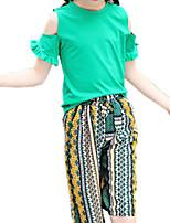 Недорогие -Девочки Повседневные С принтом Набор одежды, Полиэстер Весна Лето С короткими рукавами Богемный Зеленый Желтый