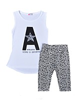 cheap -Girls' Daily Holiday Print Leopard Clothing Set, Cotton Summer Sleeveless Active White