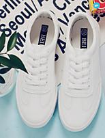 abordables -Femme Chaussures PU de microfibre synthétique Printemps Automne Confort Basket Talon Bas pour Blanc Rose et blanc