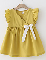 cheap -Girl's Daily Holiday Solid Colored Dress, Cotton Polyester Summer Sleeveless Cute White Yellow