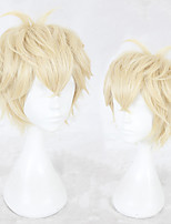 cheap -Synthetic Wig Straight Layered Haircut Natural Hairline Blonde Men's Capless Cosplay Wig Short Synthetic Hair Christmas