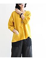 Недорогие -Жен. С кисточками Блуза Хлопок Однотонный Рукава буффы Черное и белое
