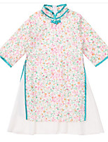 cheap -Girl's Daily Floral Dress, Polyester Summer 3/4 Length Sleeves Cute Chinoiserie Blushing Pink