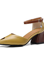 abordables -Mujer Zapatos Semicuero Verano / Otoño Tira en el Tobillo Tacones Tacón Cuadrado Dedo Puntiagudo Pedrería / Hebilla Beige / Amarillo /