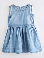 cheap -Girl's Daily Solid Colored Dress Summer Sleeveless Cute Basic Blue