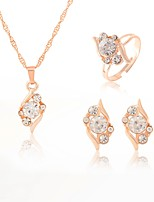 cheap -Women's Rhinestone Drop Jewelry Set 1 Necklace / 1 Ring / Earrings - Fashion / Sweet Gold Jewelry Set For Wedding / Party