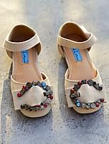 preiswerte -Mädchen Schuhe Kunstleder Sommer Schuhe für das Blumenmädchen Komfort Flache Schuhe für Normal Schwarz Beige Blau