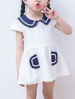 cheap -Girl's Daily School Color Block Dress, Cotton Summer Short Sleeves Cute Active Red Navy Blue