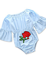 cheap -Baby Girls' Solid Colored Floral Long Sleeves One-Pieces