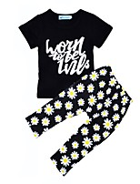 cheap -Girls' Daily Holiday Floral Clothing Set, Cotton Spring Summer Short Sleeves Active Black