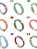 abordables -Homme Femme Corde tressée de drapeau de pays Bracelet en cuir Football Coupe du monde faux cuir Fermoir Allon 22*1*0.51cm De plein air