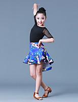 abordables -Danse latine Tenue Fille Entraînement Utilisation Polyester Fibre de Lait Combinaison Demi Manches Taille moyenne Jupes Collant /