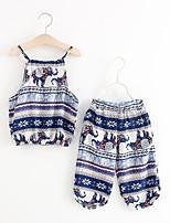 Недорогие -Девочки Повседневные Однотонный Набор одежды, Полиэстер Лето Без рукавов Очаровательный Красный Темно синий
