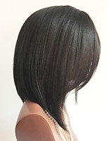 cheap -Unprocessed Wig Peruvian Hair Straight Short Bob Bob Haircut 130% Density With Baby Hair Natural Hairline Black 8-14 Women's Human Hair
