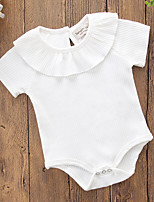 cheap -Baby Girls' Solid Colored Short Sleeve One-Pieces