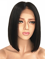 cheap -Remy Human Hair Wig Malaysian Hair Straight Middle Part Bob Haircut 130% Density With Bleached Knots Unprocessed Natural Hairline Black