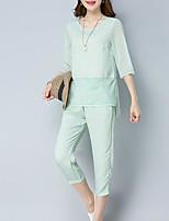 abordables -Mujer Básico Conjunto - Un Color, Encaje Pantalón