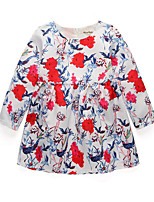 cheap -Girl's Daily Holiday Floral Dress, Cotton Polyester Spring Fall Long Sleeves Cute Active Red