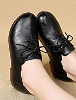 abordables -Femme Chaussures Similicuir Printemps Automne Confort Oxfords Talon Plat Bout rond pour Noir Jaune Rouge