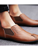 cheap -Men's Shoes Cowhide Spring Fall Light Soles Comfort Loafers & Slip-Ons for Casual Black Light Brown Dark Brown
