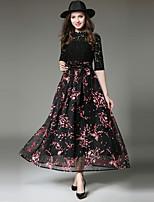 Недорогие -Жен. Изысканный Уличный стиль С летящей юбкой Платье - Цветочный принт, Кружева Бант Макси