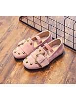 cheap -Girls' Shoes Nubuck leather Spring Fall Comfort Loafers & Slip-Ons for Casual Black Pink Khaki