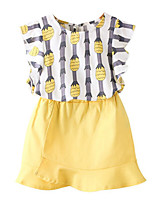 cheap -Girls' Daily Print Clothing Set, Cotton Polyester Summer Sleeveless Basic Yellow