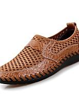 Недорогие -Муж. обувь Кожа Весна / Лето Удобная обувь Туфли на шнуровке Коричневый / Зеленый / Синий