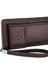 cheap -Men's Bags PU Leather Wallet Zipper for Shopping Black / Brown
