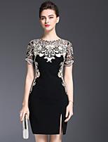 Недорогие -Жен. Классический Облегающий силуэт Платье - Однотонный Цветочный принт Выше колена