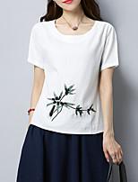 abordables -Tee-shirt Femme,Couleur Pleine Brodée Chinoiserie
