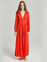 Недорогие -Жен. Классический Богемный Прямое Платье - Однотонный Макси