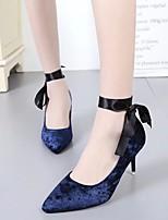 abordables -Femme Chaussures Cuir Nubuck Printemps / Automne Confort / Escarpin Basique Chaussures à Talons Talon Aiguille Noir / Bleu / Rose