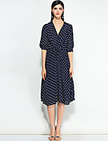 cheap -MARY YAN&YU Women's Cute Slim Swing Dress - Polka Dot V Neck