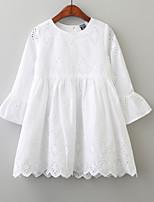 Недорогие -Девочки Очаровательный Однотонный Длинный рукав Платье