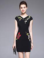preiswerte -Damen Grundlegend Bodycon Kleid Solide Blumen Übers Knie
