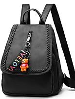 cheap -Women's Bags PU Backpack Buttons / Zipper for Outdoor Black