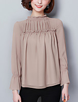cheap -Women's Street chic Blouse-Solid Colored,Ruffle Pleated Patchwork