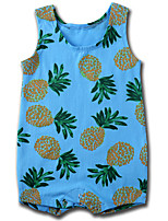 cheap -Baby Unisex Daily Print One-Pieces, Cotton Summer Cute Active Sleeveless Blue 90 100 80 66 73