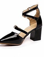 cheap -Women's Shoes Leatherette Spring / Fall Comfort / Novelty Heels Chunky Heel Pointed Toe Buckle White / Black / Pink / Party & Evening