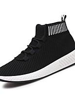 Недорогие -Муж. обувь Трикотаж Лето Удобная обувь Кеды Оборки сбоку для Повседневные Серый Черно-белый Черный/Красный