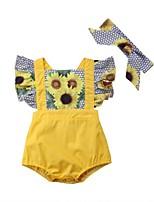 Недорогие -малыш Девочки Цветочный принт Контрастных цветов Короткие рукава 1 предмет